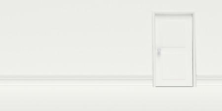Porta Chiusa bianco sulla parete bianca