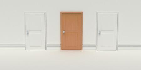 gesloten twee knutselen en een bruine houten deur op een witte muur