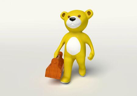 teddybeer dragen een houten gereedschapskist op een witte achtergrond