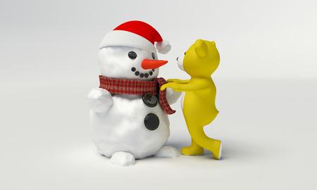 teddybeer bouwt een sneeuwpop op een witte achtergrond