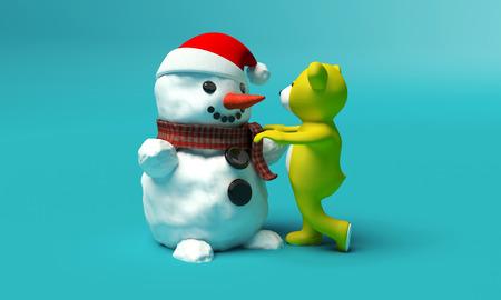 teddybeer bouwt een sneeuwpop op een blauwe achtergrond