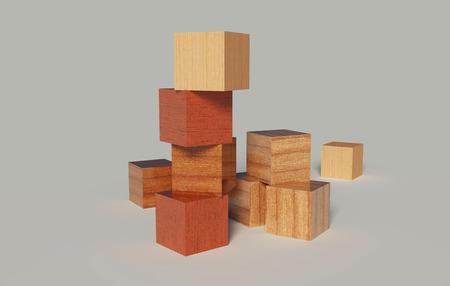 houten blokken op een grijze achtergrond