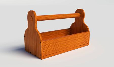 Lege houten toolbox op een witte achtergrond Stockfoto