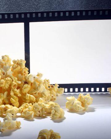 Movie night with popcorn and film