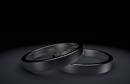 rendering white silver wedding rings photo