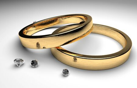 rendering golden wedding rings wiht diamond photo