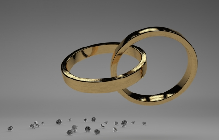 rendering golden wedding rings with diamond isolated