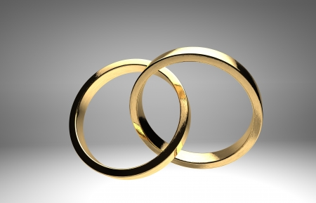 rendering golden wedding rings isolated
