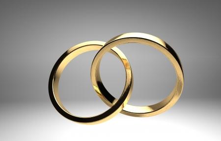 rendering golden wedding rings isolated
