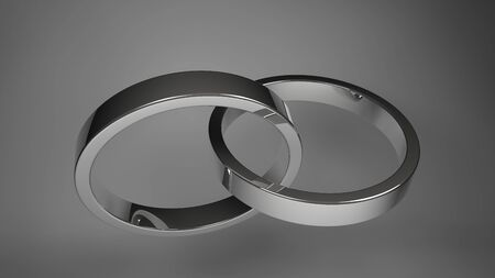 rendering silver wedding rings  isolated photo
