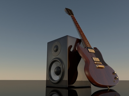e guitar: Illustration of the loudspeaker and mirror E-Guitar