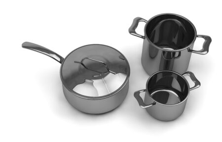optional: rendering Three identical optional stainless steel pots and pans