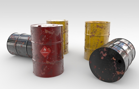 colorfull and corroding containers for oil and other fuel Stock Photo