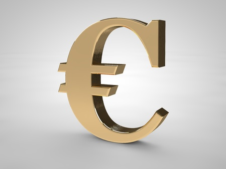 3D Euro symbol isolated on white in gold