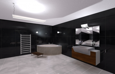 illustration modern bathroom in Black and White Stock Illustration - 19808117