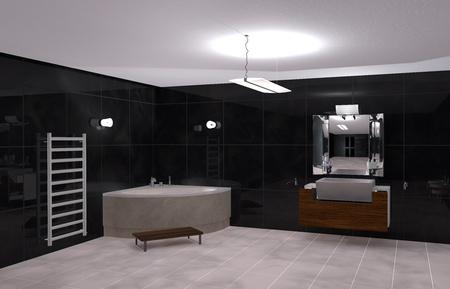 illustration modern bathroom in Black and White Stock Illustration - 19808116