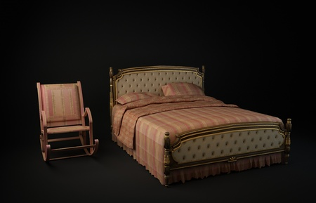 3d illustration from chair and Bed of black background illustration