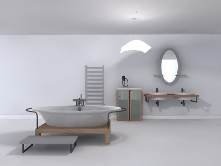 bathroom wall:  rendering illustration modern bathroom design Stock Photo