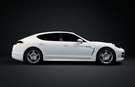 white Sport Coupe isolated of black background