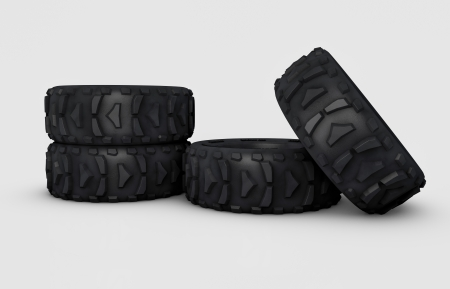 tubeless: illustration and isolated 3d off-road wheels