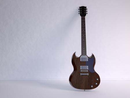 e guitar: Illustration and rendering of E-Guitar in white room