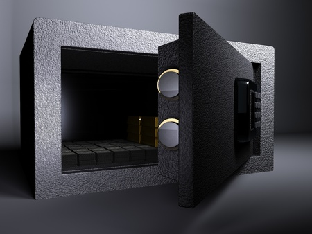3D illustration rendering of Small Vault Gold and US Dollar Stock Photo