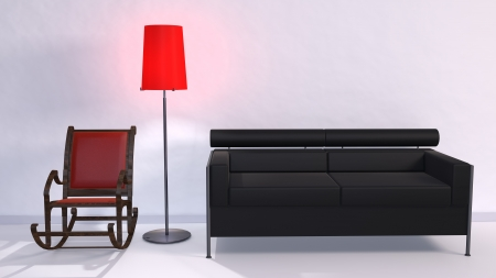 3d illustration of Couch and rocking chair in the White Room