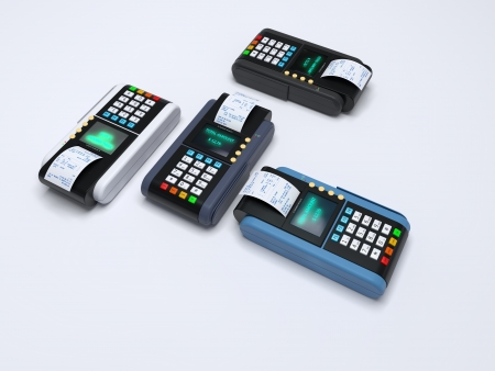 cashless: Illustration of the 3D rendered Credit Card Machine
