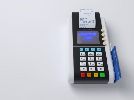 Illustration of the 3D rendered Credit Card Machine illustration