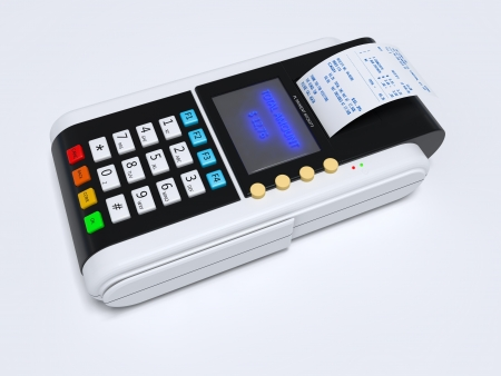 Illustration of the 3D rendered Credit Card Machine illustration