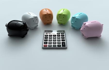 render illustration from Calculator and Piggy Bank illustration