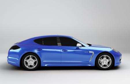 illustratie blauwe sport limousine geïsoleerd van de achtergrond