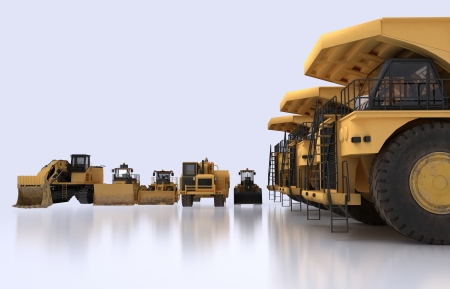 3D illustration of isolated earth mover vehicles Stock Photo