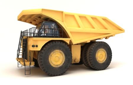 camion minero: Ilustraci�n 3D del veh�culo aislado de mover la tierra Foto de archivo