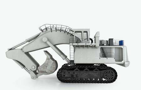 heavy construction: 3D illustration of isolated earth mover vehicle