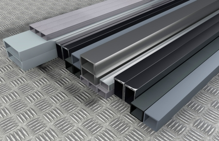extrusion: 3D rendered illustration from Different size steel profils Stock Photo
