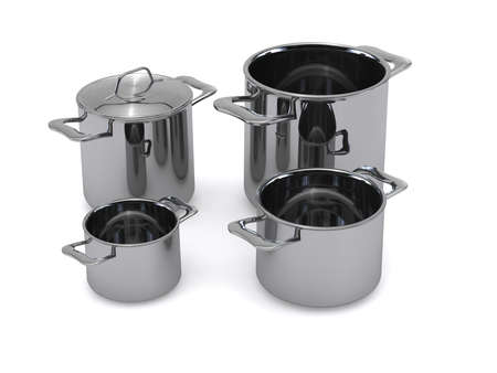 Three identical optional stainless steel pots and pansrendering photo