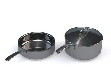 optionnel: Trois pots en acier inoxydable en option identiques et pansrendering