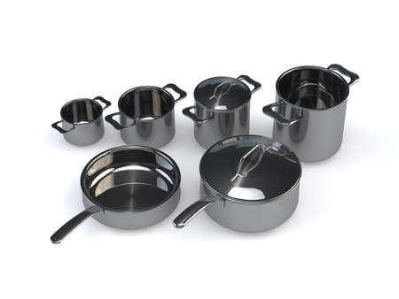 optional: Three identical optional stainless steel pots and pansrendering