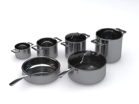 Three identical optional stainless steel pots and pansrendering