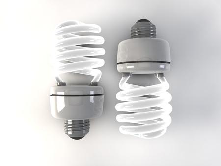 compact fluorescent lightbulb: Illustration of the 3D rendered Energy saving light bulb