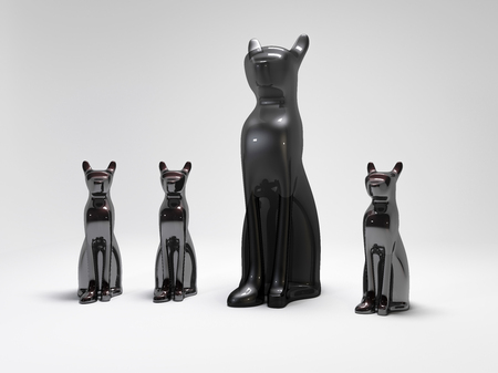 sceptre: 3D Illustration of the rendered cat statue