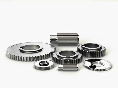 steel industry: 3D Illustration of the rendered industry steel gears Stock Photo