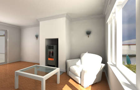 3d illustration of Couch in the White living Room illustration