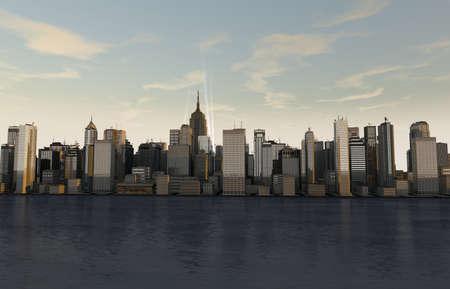 sky scrapers: Any nice panorama illustration of a skyline