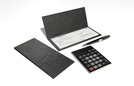 3D Illustration and rendering of isolated Checkbook and pen Stock Photo