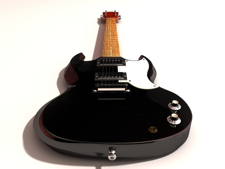 fender: 3D Illustration and rendering of isolated black E-Guitar Stock Photo