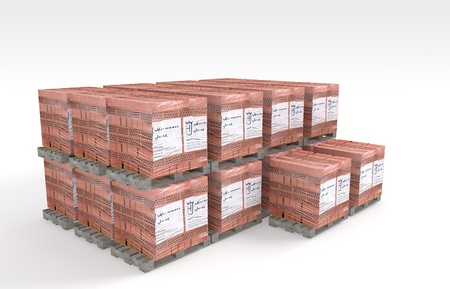 3D Illustration and rendering of pallet bricks illustration