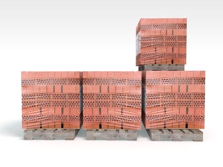 3D Illustration and rendering of pallet bricks