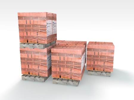 3D Illustration and rendering of pallet bricks